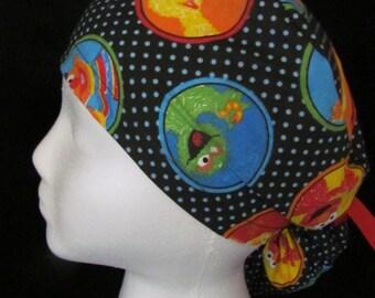 Sesame Street Bert Ernie Big Bird Oscar Ponytail Tie Surgical Scrub Hat