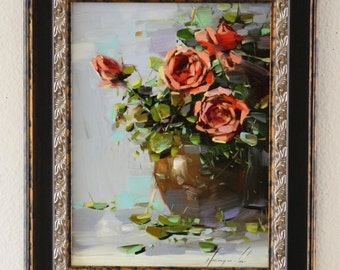 Vase of Roses Oil painting Flowers Framed Original painting Classic art  12 x 9 in Gallery Quality One of a Kind  Ready to hang