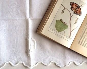 Vintage White Linen Table Runner With Monogram B