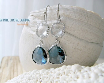 Sapphire Earrings Silver Sapphire Earring Blue Earrings Crystal Earrings Sapphire Blue Gemstone Jewelry September Birthstone Earrings gift