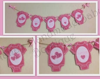 Baby Shower Bodysuit Burlap/Fabric Banner Design - DIGITAL EMBROIDERY DESIGN