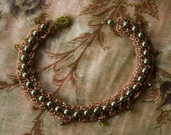"""Unique Bridesmaid Gift - Pearl Sparkly Bracelet   Olive Green, Coral & Gold Beadwoven with Fringe """"Serpent Lace""""   Glass, Swarovski Crystal"""