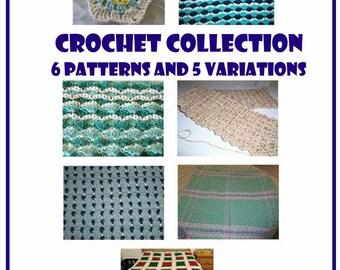Pattern collection, Crochet pattern, Afghan patterns, Scarf pattern, 6 patterns
