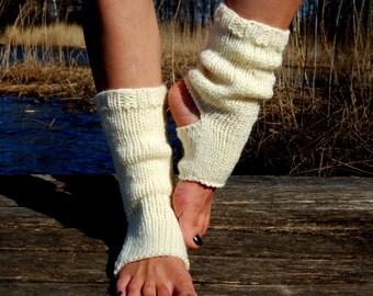 Hand Knit Yoga Socks, Pedicure Socks,  Pilates Socks, Toe - less Socks, Flip Flop Socks, Piyo Socks,  Knitted Spats, Dance Socks