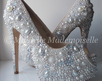 Pearl & Crystal Cinderella Wedding Shoe's HIGH Platform