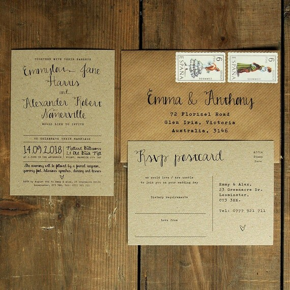 Calligraphy wedding invitation save the date by