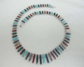 1980s Sterling Inlaid Genuine Stone Collar Item W-#566