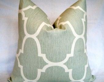 """Windsor Smith for Kravet Seafoam Riad Decorative Designer Ikat Spa Ivory Aqua Linen Pillow Cover 18 19 20 22 24"""" Contemporary Sofa cushion."""