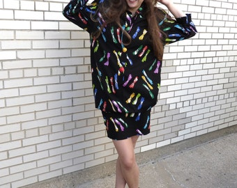 1980s Bow Skirt and Jacket Set