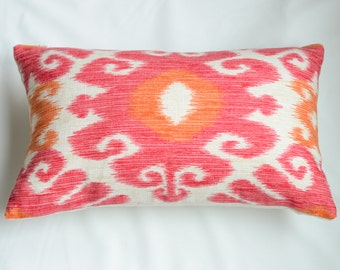 Pink, Orange, White Ikat Rectangular  Decorative Pillow Cover from Jaclyn Smith Home Collection