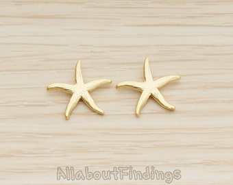 PDT1234-02-MG // Matte Gold Plated Starfish Ver.2 Pendant, 2 Pc