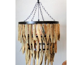 Large Driftwood Three Tier Chandelier with Iron Rings Beach Nautical Theme