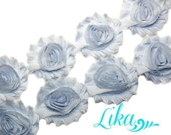 Light Blue Shabby Flower Trim - Shabby Rose trim - Shabby Flowers - Chiffon Flower - Wholesale - Shabby Chic - Rose Trim - 1/2 yard or 1 yd