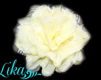 Pale Yellow Lace Flower - Chiffon Flower - Lace rose - Shredded Lace Flower - Wholesale - Supply - DIY- 3.75 inch - Pale Yellow