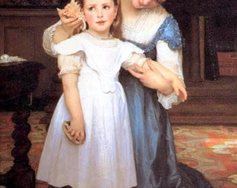 Mother  shows daughter how to listen for the sound of waves in a Shell  by Bouguereau 11x14 Canvas Print