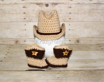 Crochet cowboy hat and boots.