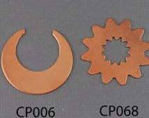 Multiple Design Copper Stamping Blank Discs 24 Gauge / Horseshoe / Crescent Moon / Sun / Acorn / Stamping Supplies / Personalized / Name Bar