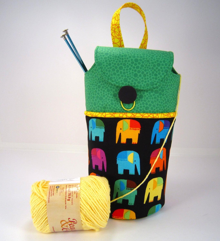 Knitting Yarn Holder Bag : Elephant fabric knitting crochet yarn holder project bag tote