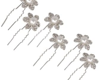 Crystal Pave Flower Bridal Wedding Hair Pin with Pearl Center (Set of 6)