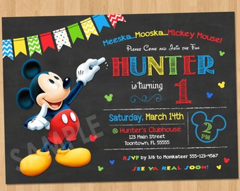 Mickey Mouse Birthday Invitation - Mickey Mouse Clubhouse Party Invitation Chalkboard Printable 1st Birthday First Bday Boy Invites Any Age
