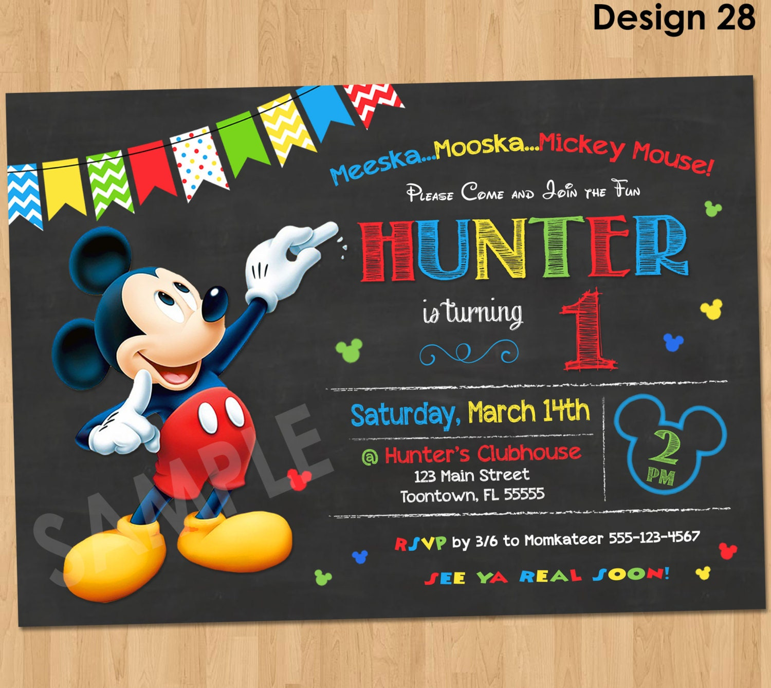 Declarative image pertaining to free printable mickey mouse birthday invitations