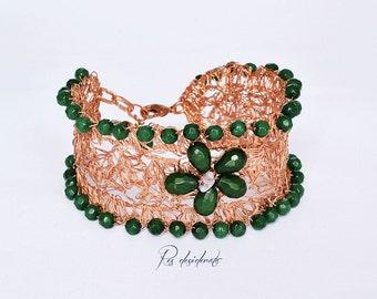 OOAK bracelet copper wire crocheted