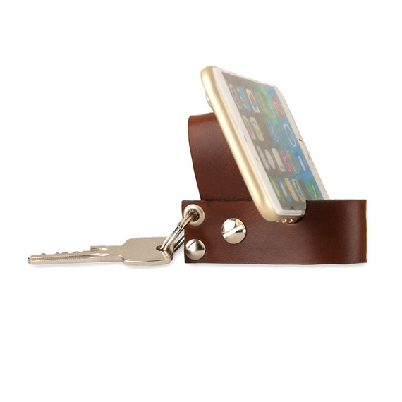 Leather keychain with smartphone stand. Leather key fob by ...