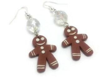 Christmas Earrings, Gingerbread, Christmas Jewelry, Holiday Earrings, Fun Earrings, Food Jewelry, Dangle Earrings, Brown Jewelry, Gift Ideas