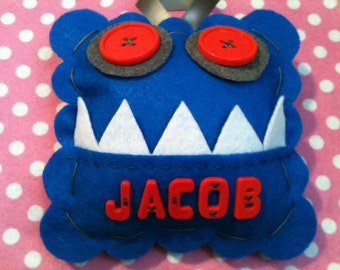 Personalized Tooth Fairy Pillow.  Monster Tooth Fairy Pillow.  Boy's Tooth Fairy Pillow.  Tooth Fairy Pillow