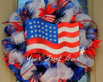 American Flag Wreath -  Patriotic Wreath - 4th of July Wreath - Independence Day Wreath - Memorial Day Wreath - Red, White, Blue Wreath
