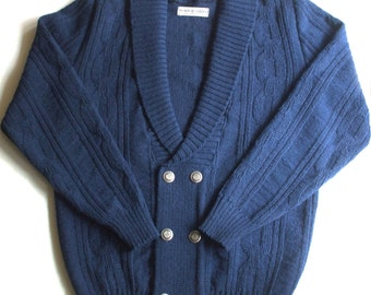 Men's lambswool shawl neck button down Cardigan/sweater/chain pattern/double-breasted/V neck/