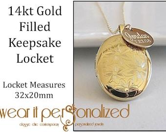 Personalized Gold Locket Necklace, 14kt Gold Filled Locket,Keepsake Necklace,Engraved Locket,Wedding Bridal Necklace,Photo Locket,Bridesmaid