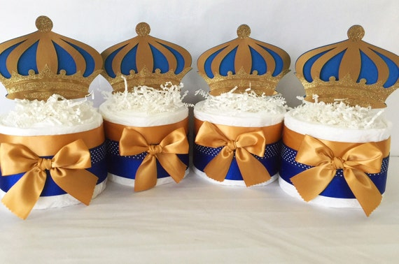 theme baby shower centerieces royal blue and gold party decorations
