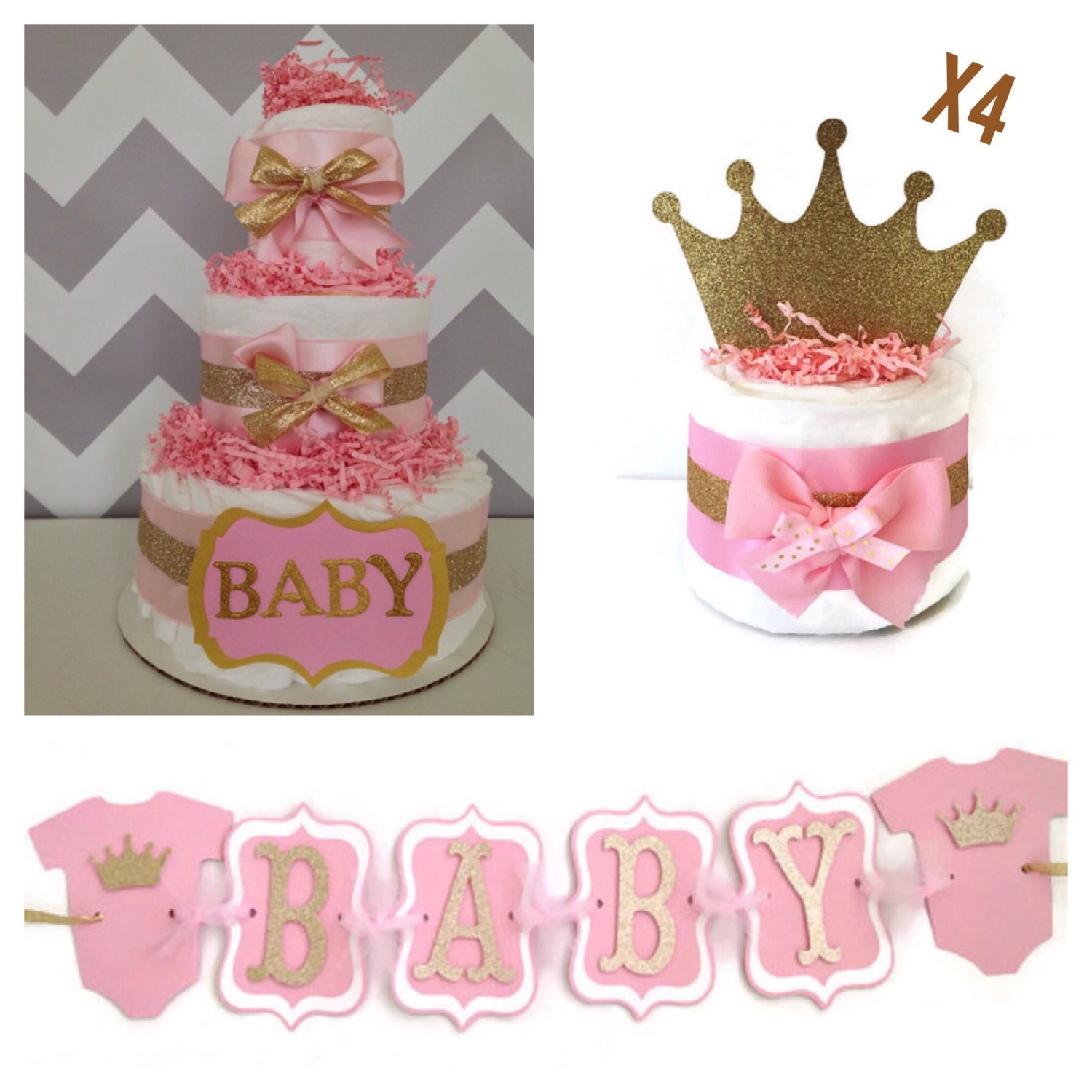 princess baby shower party box pink and gold by alldiapercakes