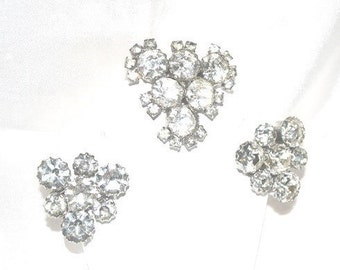 Vintage 1940s Era Clear Headlight Rhinestone Brooch Earrings Demi