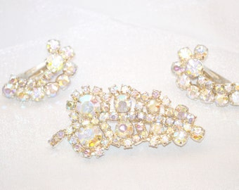 Vintage Brooch with Earrings White Aurora Borealis Rhinestones