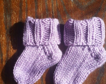 Baby socks/booties (orchid), handcrafted knit socks, 3-9 months, custom colors available