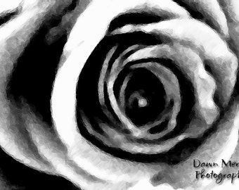 Abstract Rose Photo Print, Black And White Abstract Rose Art Photographic Wall Print, Digital Artwork, Rose Flower Artwork, Decor Wall Print
