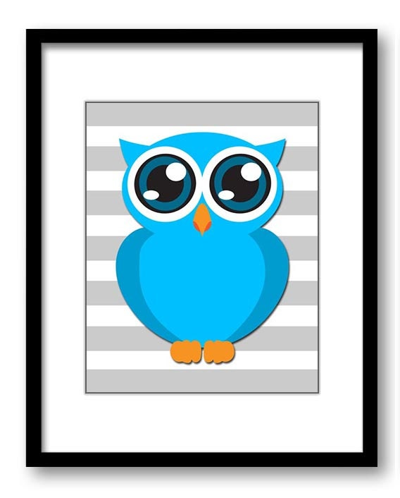 Blue Owl Nursery Art Nursery Print Baby Art Grey Stripes Baby Animal Owl Blue Print Boys Wall Art Nu