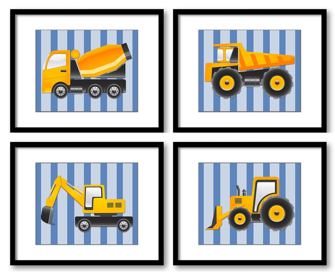 Transportation Construction Vehicles Heavy Machinery Kid Children Art Set of 4 Prints Boy Art Nurser