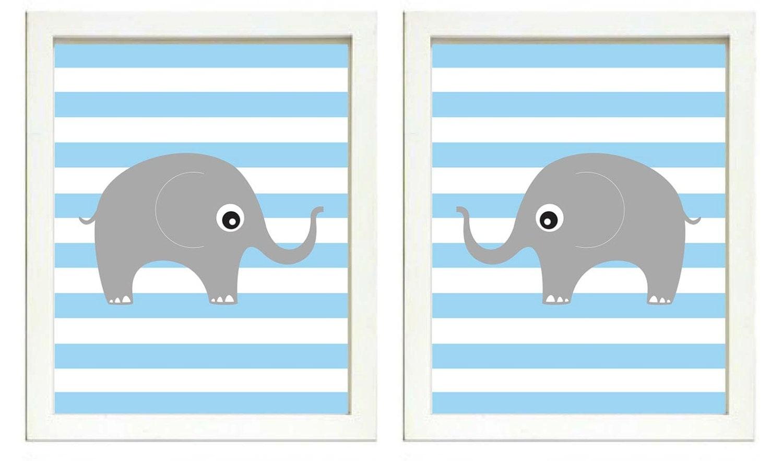 Elephant Nursery Art Nursery Print Set of 2 Elephants Blue Stripes Grey Child Art Prints Boy Kids Ro