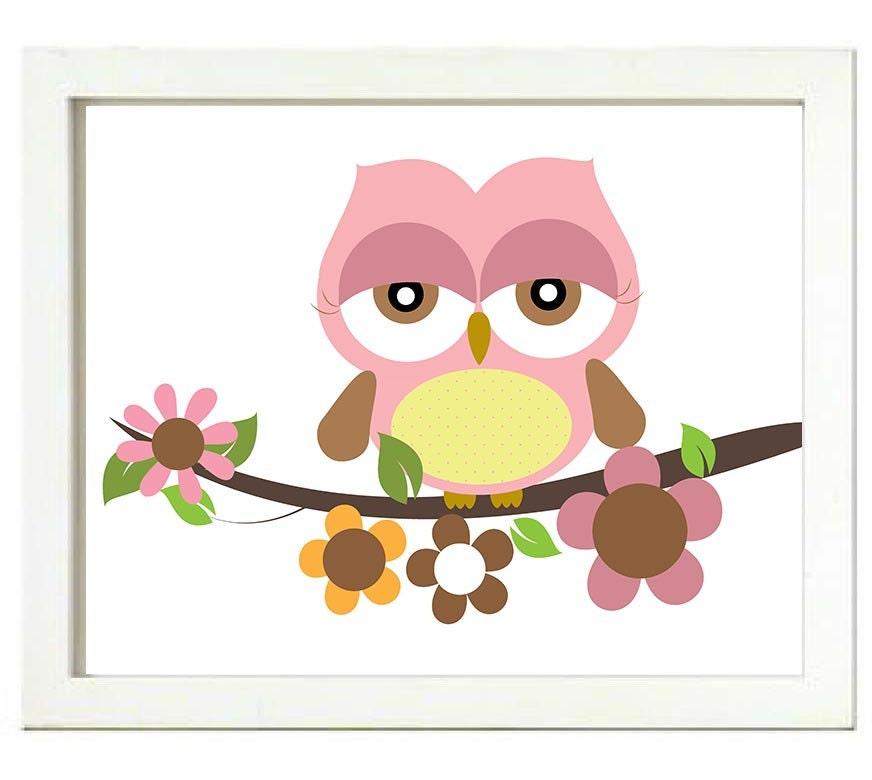 Pink Owl Nursery Art Print Branch Flowers Girls Nursery Art Child Kid Room Wall Decor