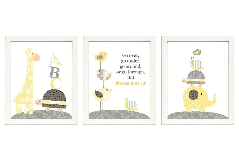 Yellow Gray Grey Nursery Art Print Set of 3 ABC Elephant Bird Turtle Giraffe Snail Baby Nursery Prin