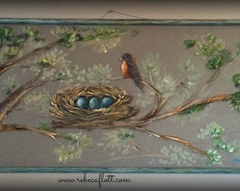 Old recycle window screen Robin and Nest paintings, spring bird art ,outdoor and indoor art