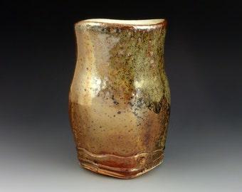 15oz Porcelain Tumbler with Rustic Shino and Wood Ash Glaze