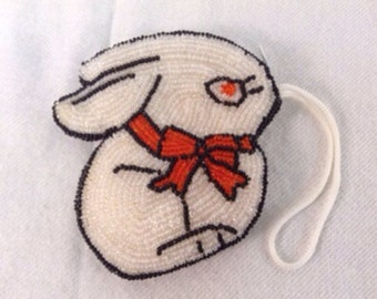 Vintage Beaded Bunny Coin/Change Purse