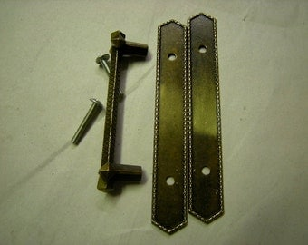 vintage drawer pulls and 2 plates-1970's-craft=art-upcycle-recycle-assemblage-