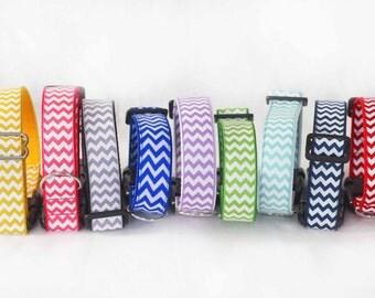 Stylish dog collar, chevron pattern adjustable dog collar, quick release pet collar, 10 colors of choice dog collar