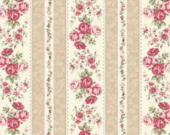 A Rose for You, Beautiful Pink Rose and Ecru Stripe, Quilt Gate (By 1/2 Yard)
