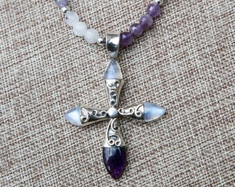 Spectacular long faceted moonstone and amethyst beaded necklace with stunning sterling, amethyst and moonstone cross pendant